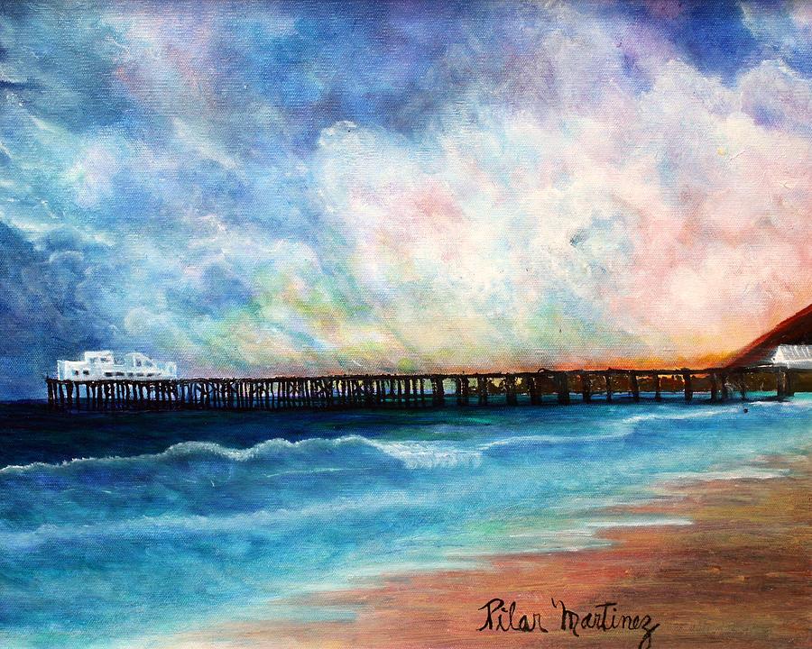 Ocean Painting - Malibu Pier by Pilar  Martinez-Byrne