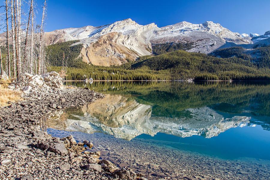Jasper Photograph - Maligne Lake Reflection Jasper by Pierre Leclerc Photography