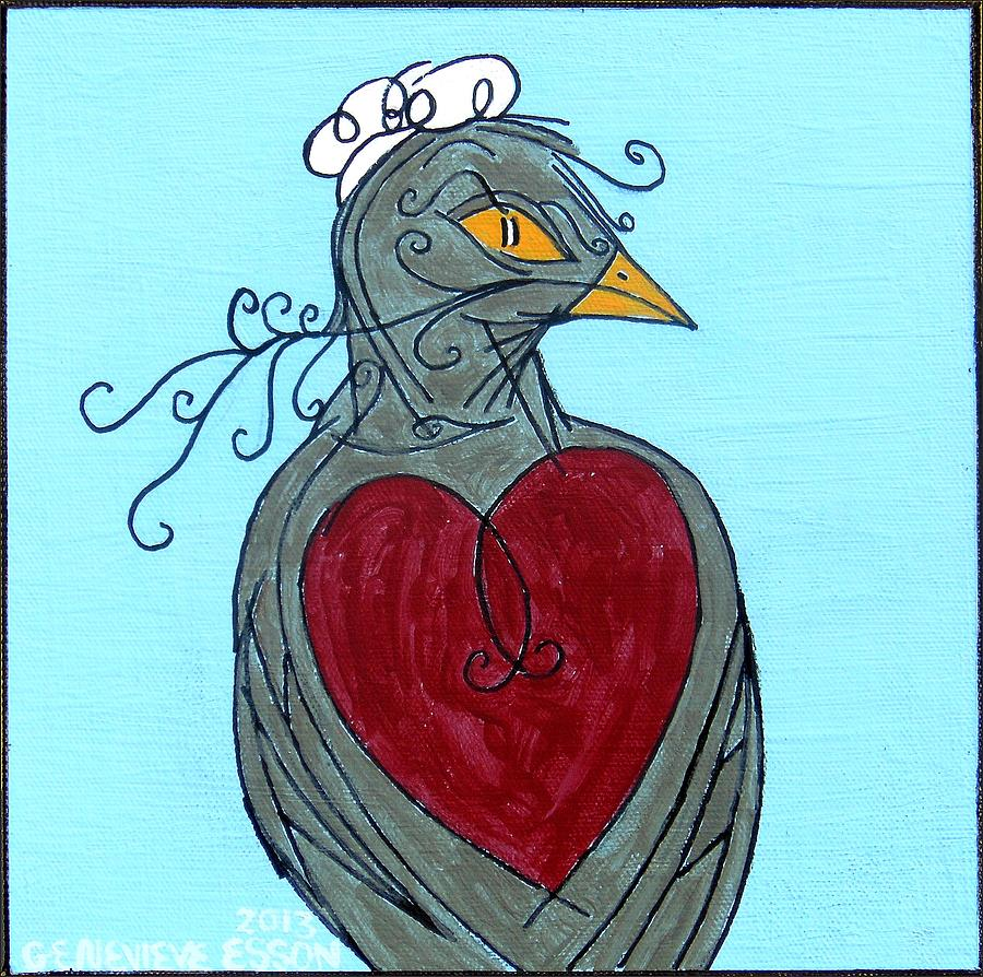 Bird Painting - Mama Bird Detail by Genevieve Esson
