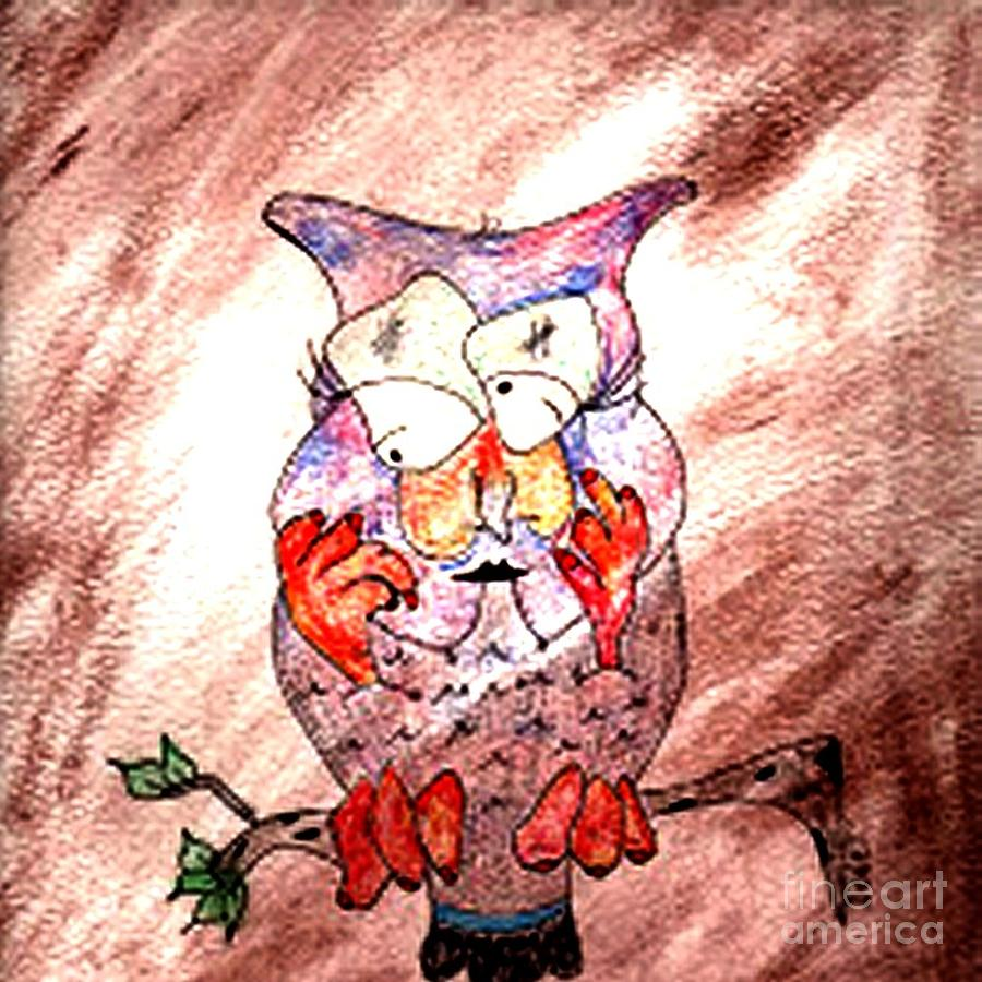 Mama Owl Mixed Media by Donna Daugherty