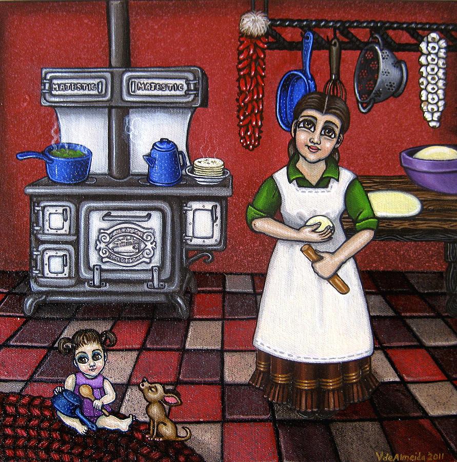 Kitchen Painting - Mamacita by Victoria De Almeida