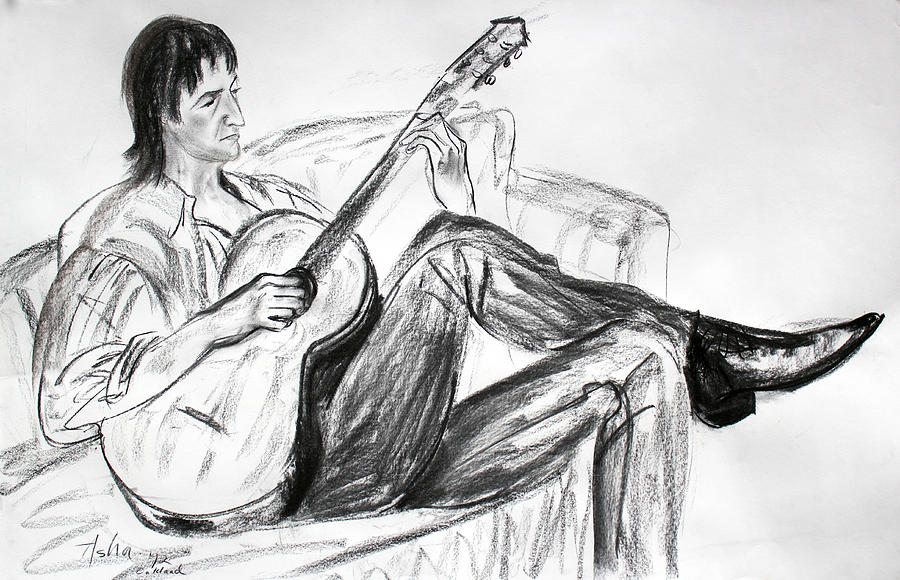 Man And Guitar Drawing By Asha Carolyn Young