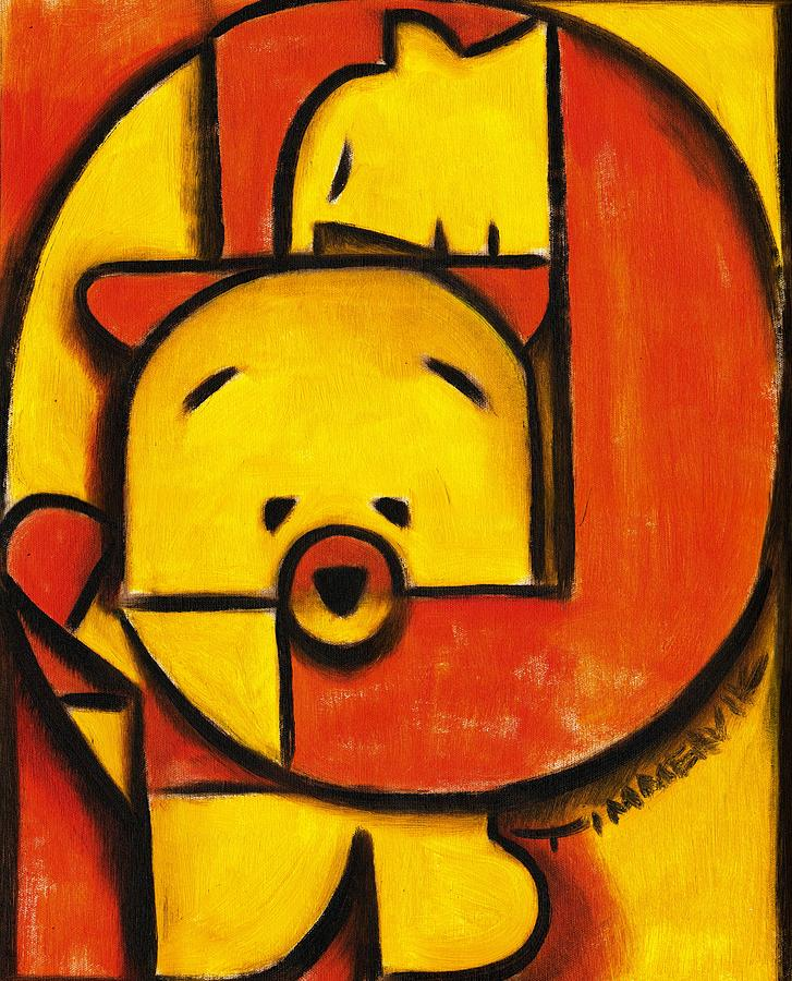 Teddy Bear Painting -  Man and Teddy Bear Art Print by Tommervik