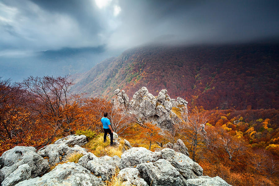 Autumn Photograph - Man And The Mountain by Evgeni Dinev