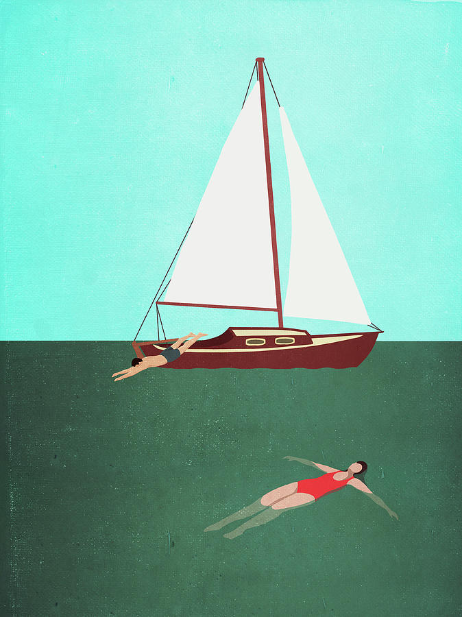 Man And Woman Swimming In Sea By Boat Digital Art by Malte Mueller