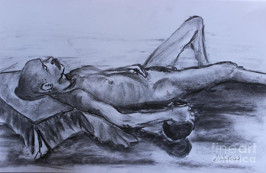 Man Nude Painting - Man At Rest by Sharon Wilkens