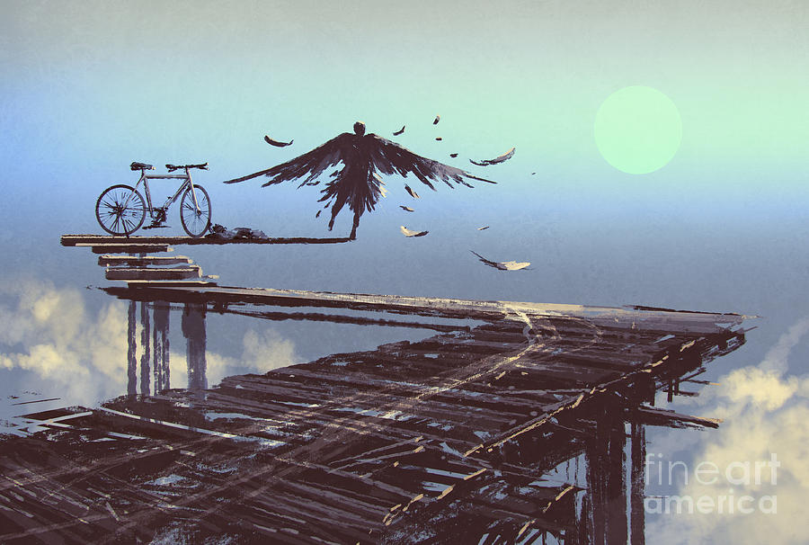 Feather Digital Art - Man Becomes Bird Standing On End Of by Tithi Luadthong