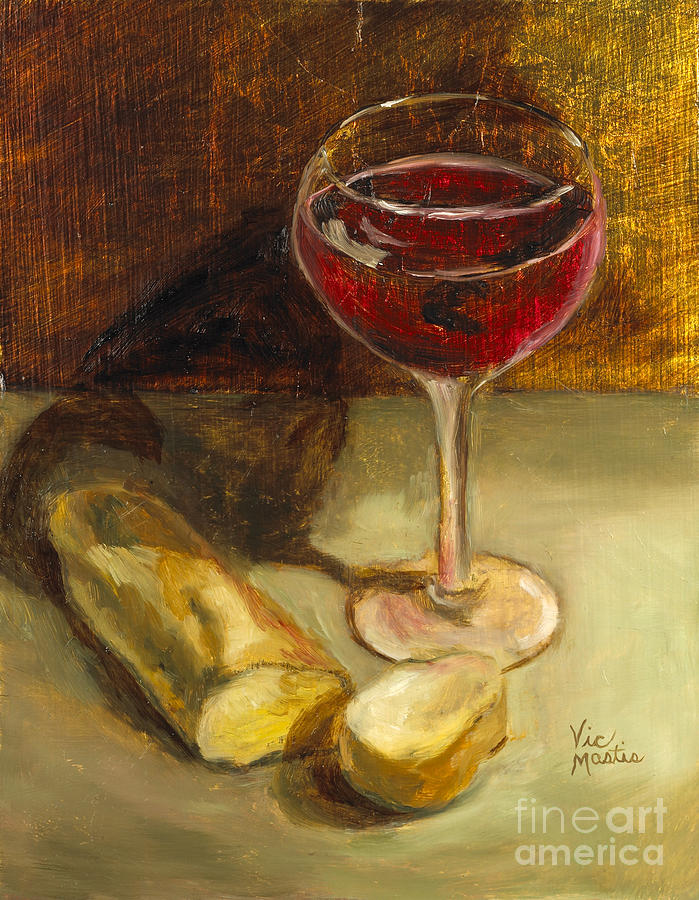 Wine Painting - Man Cannot Live On Bread Alone With Gold Leaf By Vic Mastis by Vic  Mastis