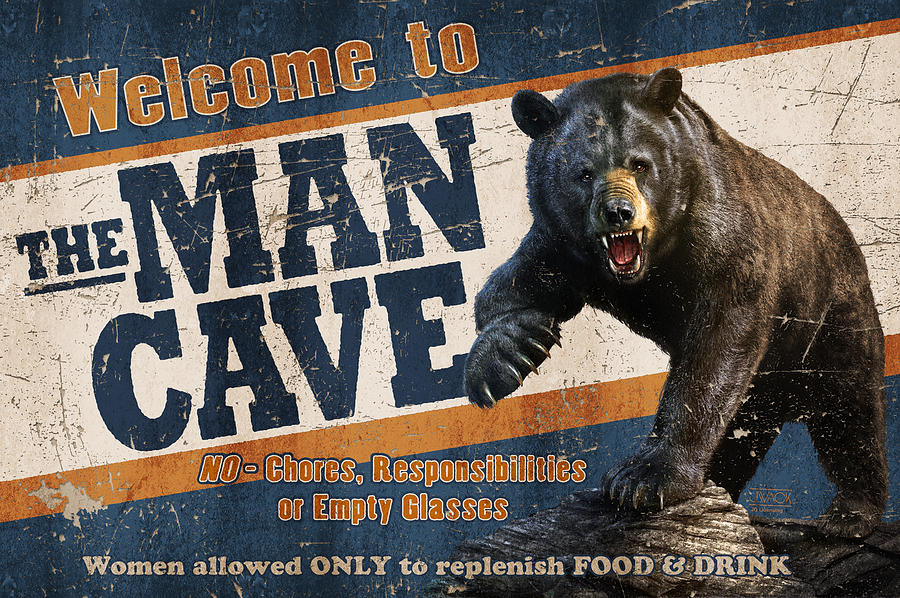Hunters Man Cave Signs : Man cave balck bear painting by jq licensing