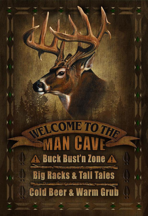Deer Painting - Man Cave Deer by JQ Licensing