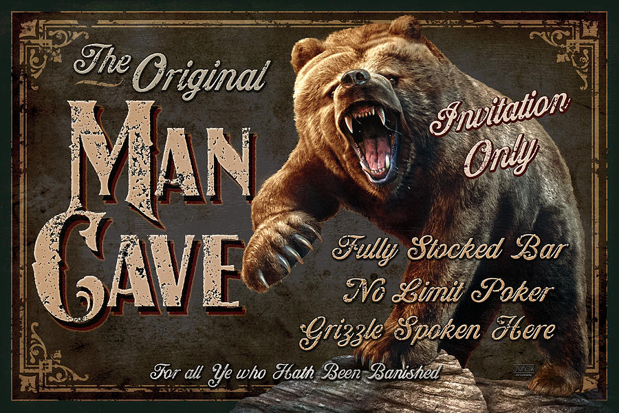 Jeff Wack Painting - Man Cave Grizzly by JQ Licensing