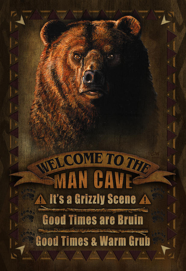 Man Cave Art Prints : Man cave grizzly painting by jq licensing