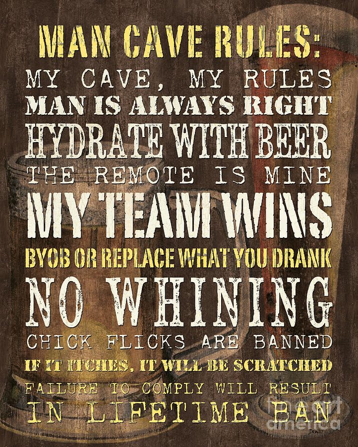 Man Cave Rules Artwork : Man cave rules painting by debbie dewitt