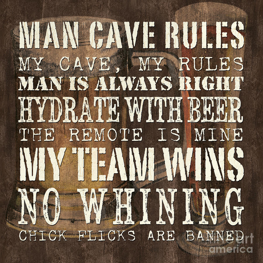 Man Painting - Man Cave Rules Square by Debbie DeWitt