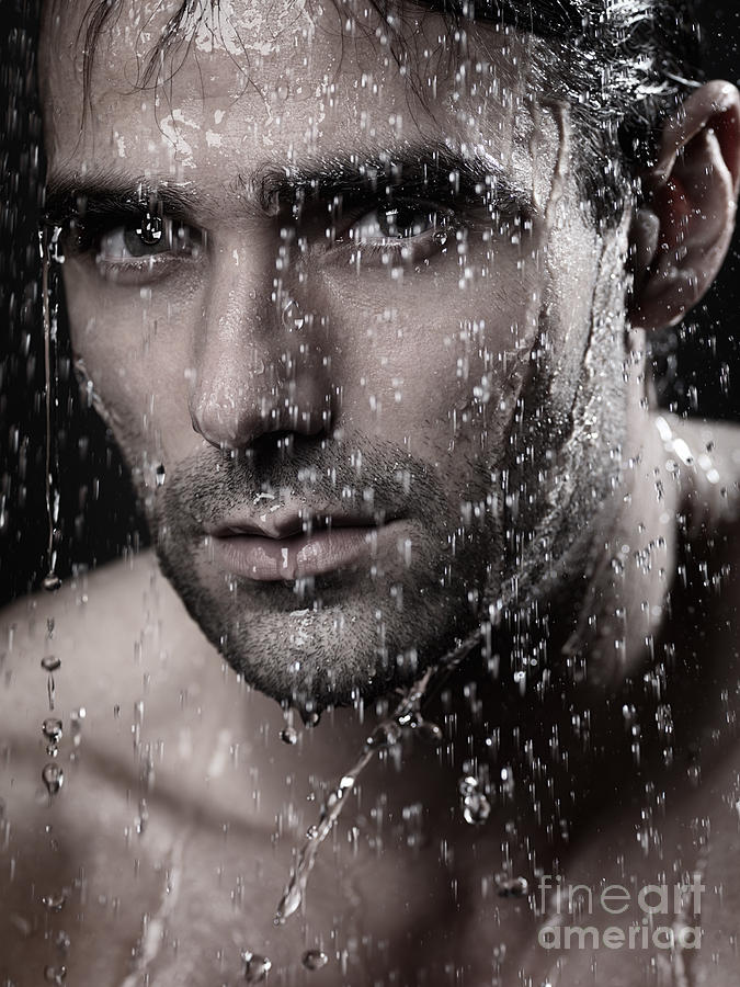 Man Photograph - Man Face Wet From Water Running Down It by Oleksiy Maksymenko