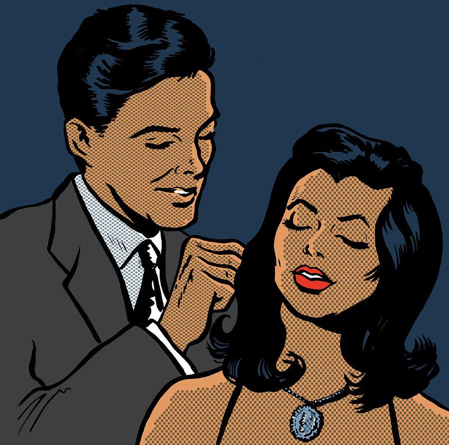Man Fastening Necklace On Girlfriend Digital Art by Jacquie Boyd