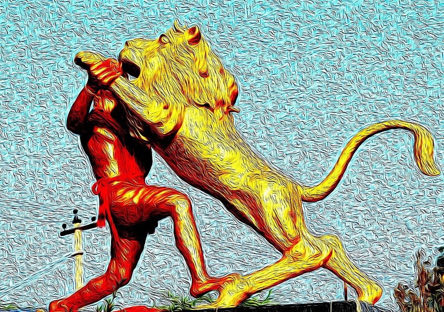 Man Photograph - Man Fighting With Lion Bravery by Deepti Chahar