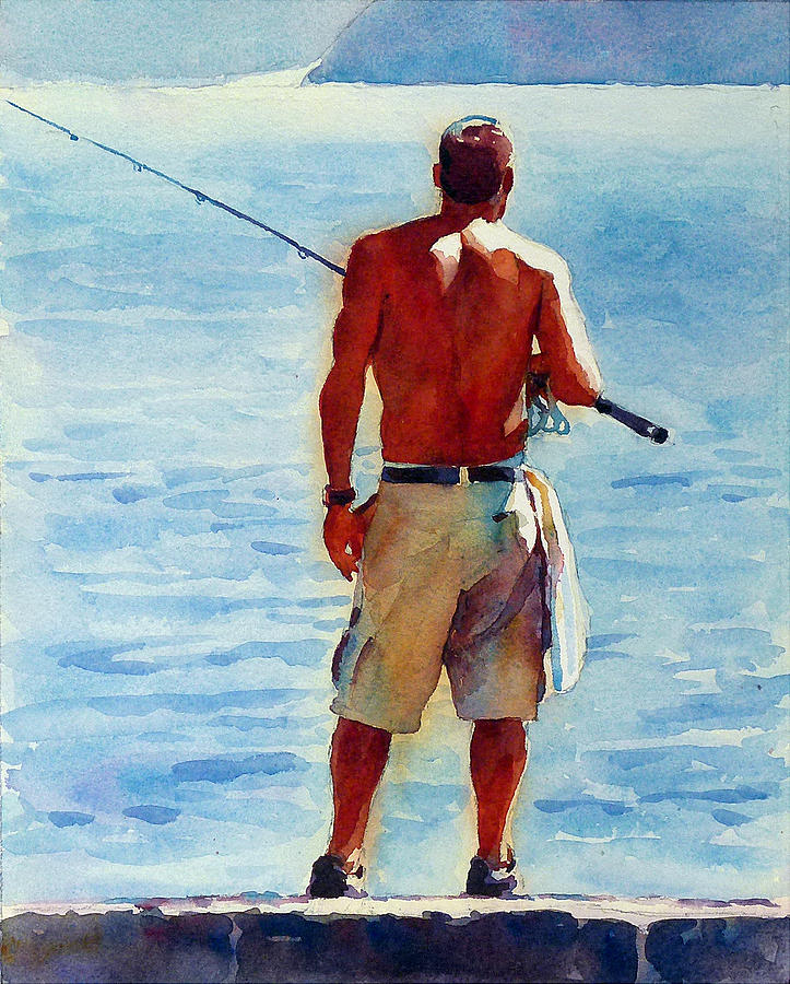 Man Painting - Man, Fishing by Graham Berry