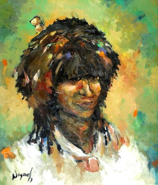 Portrait Painting - man from East by Negoud Dahab