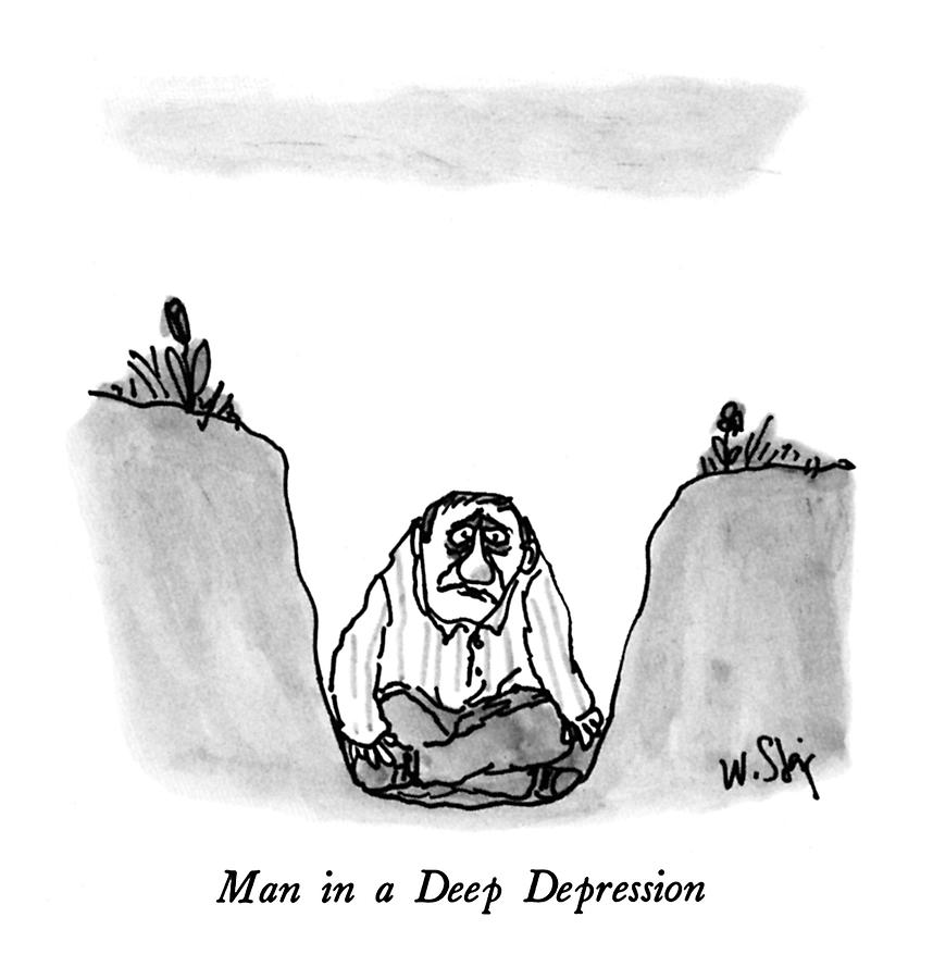 Man In A Deep Depression Drawing by William Steig