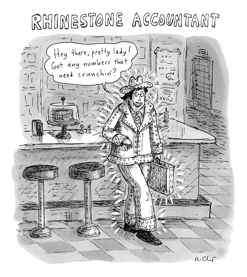 Man In A Rhinestone Suit Leans Against A Bar Drawing by Roz Chast