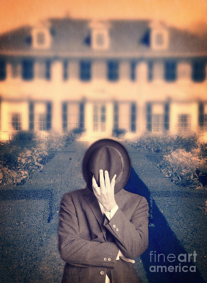 Mansion Photograph - Man In Front Of Mansion  by Edward Fielding