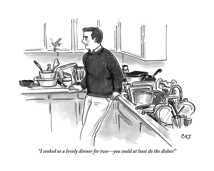 Dishes Drawing - Man In Kitchen Surrounded By Dishes by Carolita Johnson