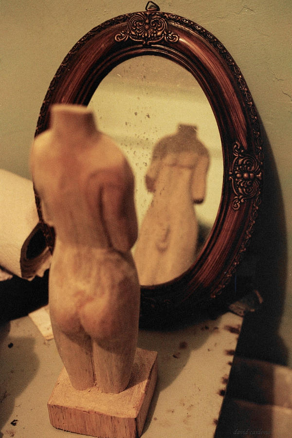 Wood Photograph - Man In The Mirror by David  Cardona