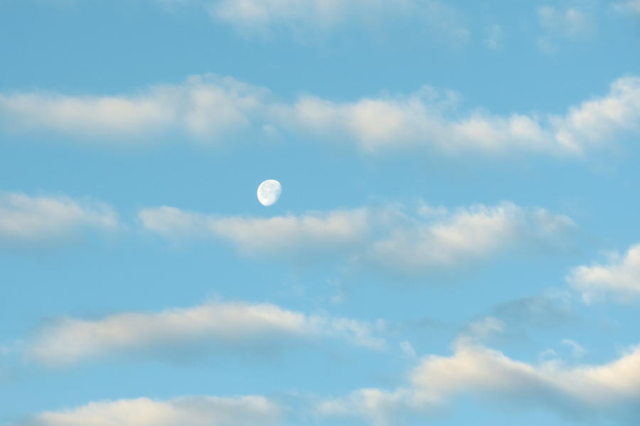 Space Photograph - Man In The Moon In The Clouds by Fortunate Findings Shirley Dickerson