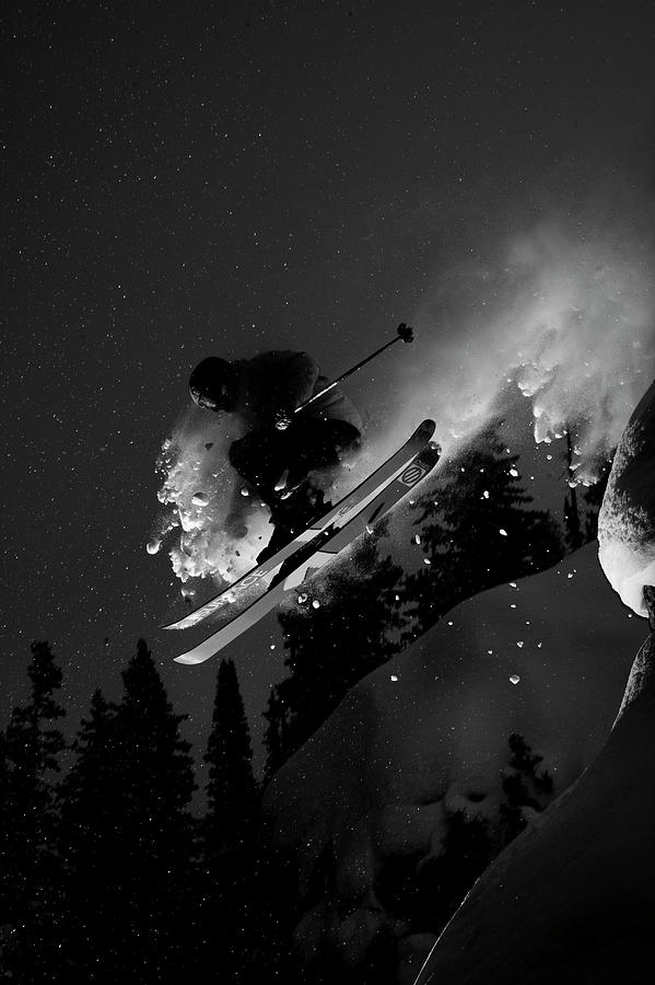 Adventure Photograph - Man Jumping On Skis by Adam Clark