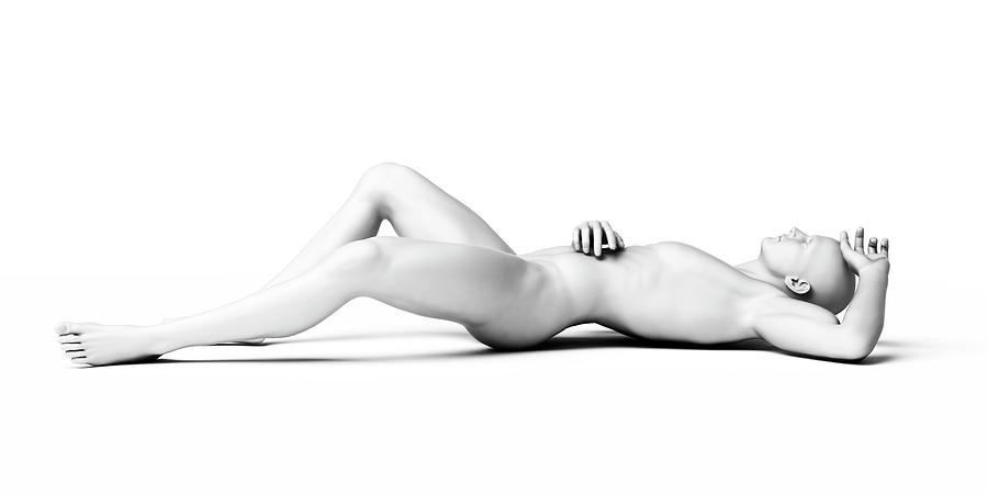Artwork Photograph - Man Lying Down by Sebastian Kaulitzki