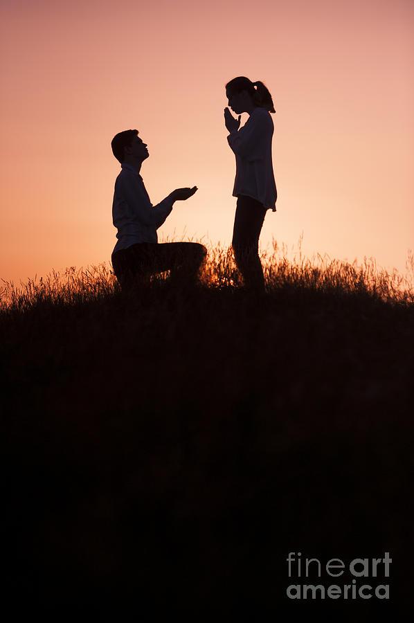 Man Making Wedding Proposal Photograph By Lee Avison