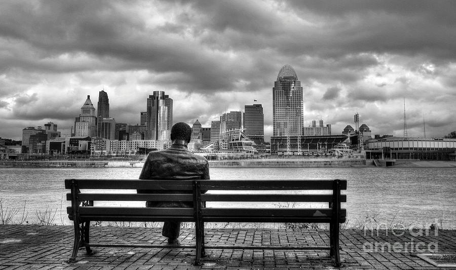 Cincinnati Photograph - Man On A Bench by Mel Steinhauer