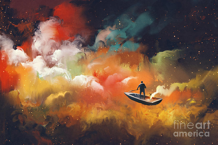 Clouds Digital Art - Man On A Boat In The Outer Space by Tithi Luadthong