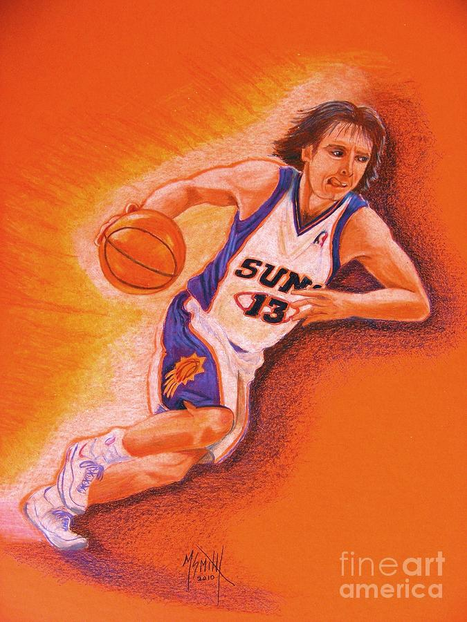 Steve Nash Drawing - Man On Fire by Marilyn Smith