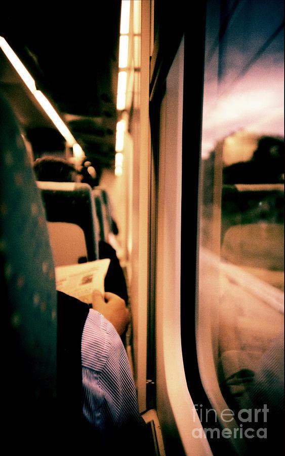 Man Photograph - Man On Train - Lomo Lca Xpro Lomographic Analog 35mm Film by Edward Olive