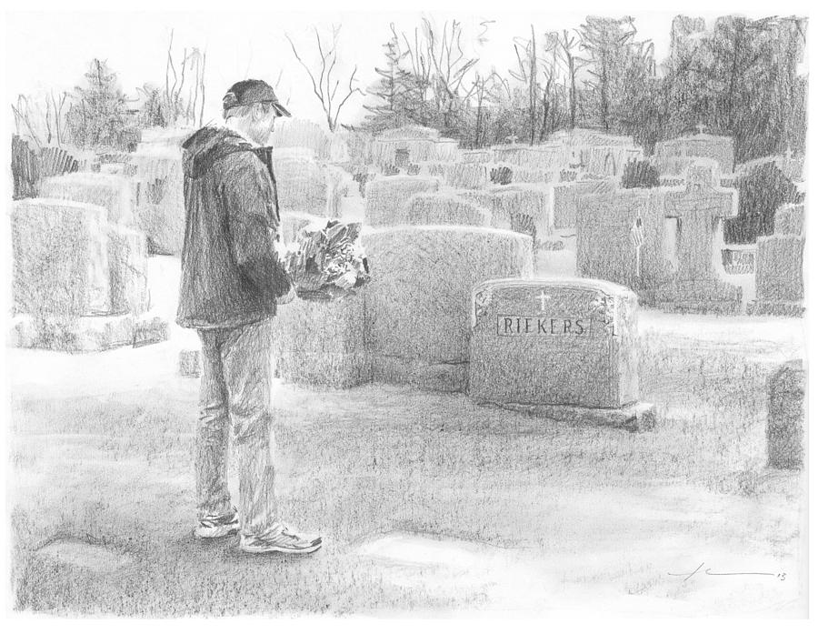 Man Paying Respects Grave Pencil Portrait Painting by Mike Theuer