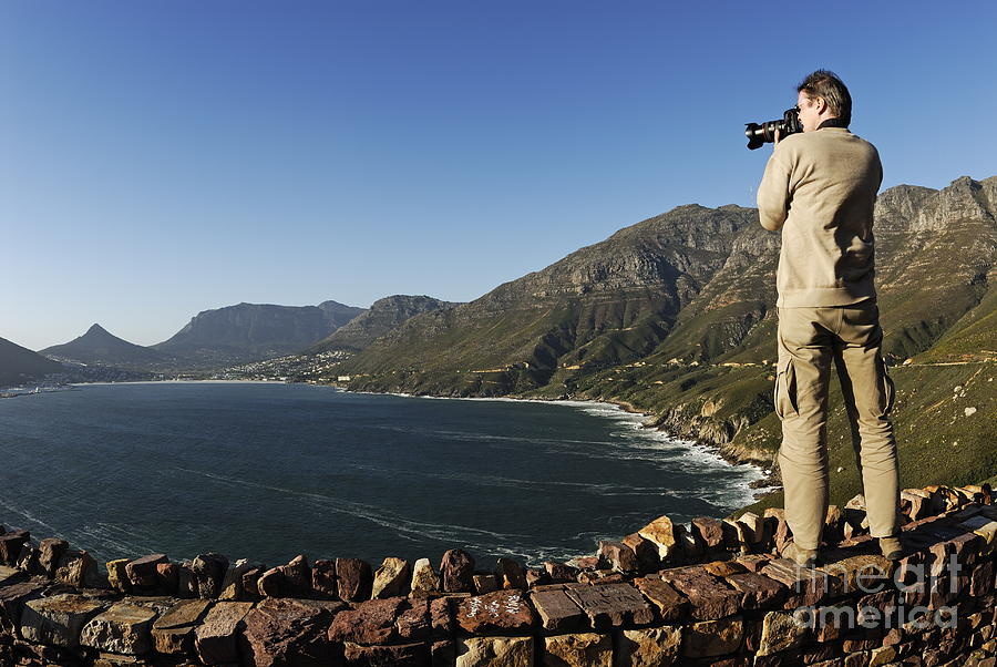 People Photograph - Man Photographing Hout Bay by Sami Sarkis
