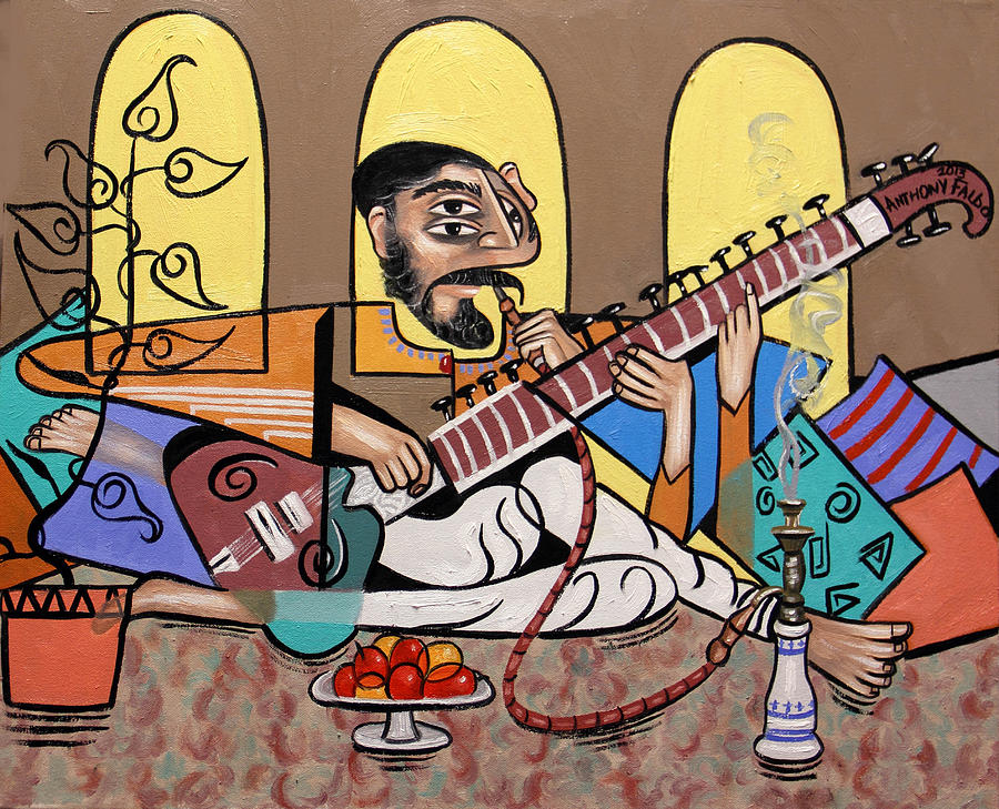 Man Painting - Man Playing A Sitar by Anthony Falbo