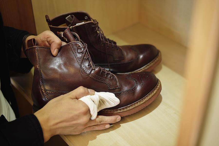Man Polishing Leather Shoes Photograph by Yagi Studio