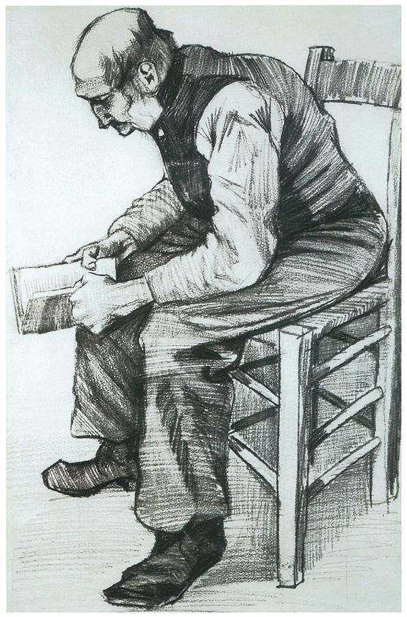 Man Reading Drawing - Man Reading The Bible by Vincent van Gogh