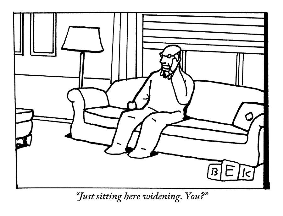 Man Sits In Chair In Living Room Talking On Phone Drawing by Bruce Eric Kaplan