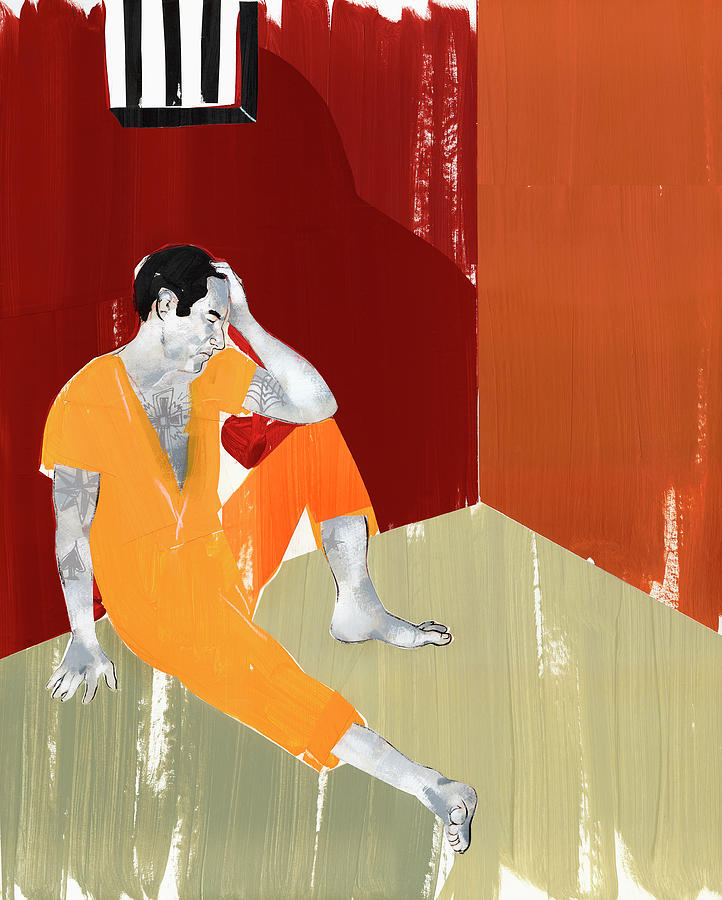 Adult Photograph - Man Sitting On Floor Of Jail Cell by Ikon Ikon Images