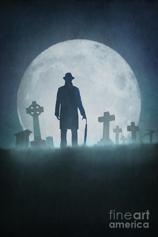 Man Standing In A Graveyard In Fog At Night Photograph By