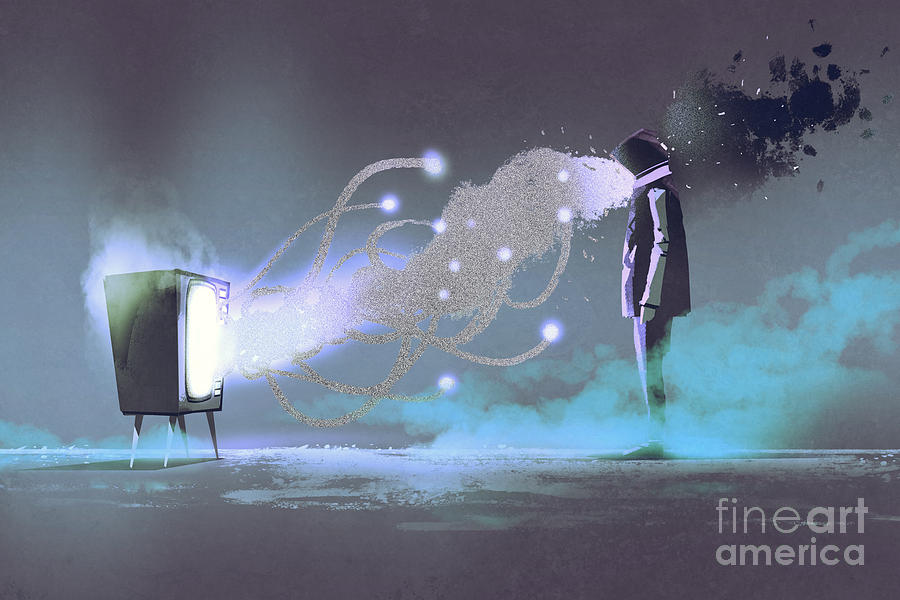 Tv Drawing - Man Standing In Front Of Unusual by Tithi Luadthong