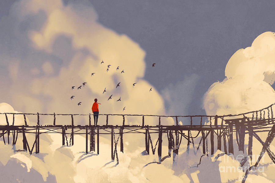 Sky Digital Art - Man Standing On Old Bridge In by Tithi Luadthong