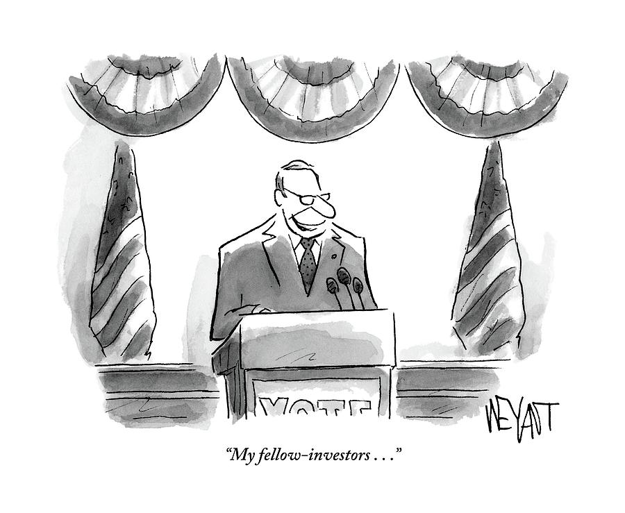 Man Stands Speaking At Podium With A Sign Drawing by Christopher Weyant