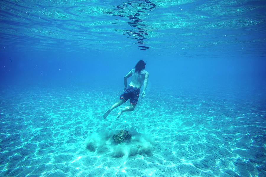 Young Men Photograph - Man Swimming Underwater by Konstantin Trubavin