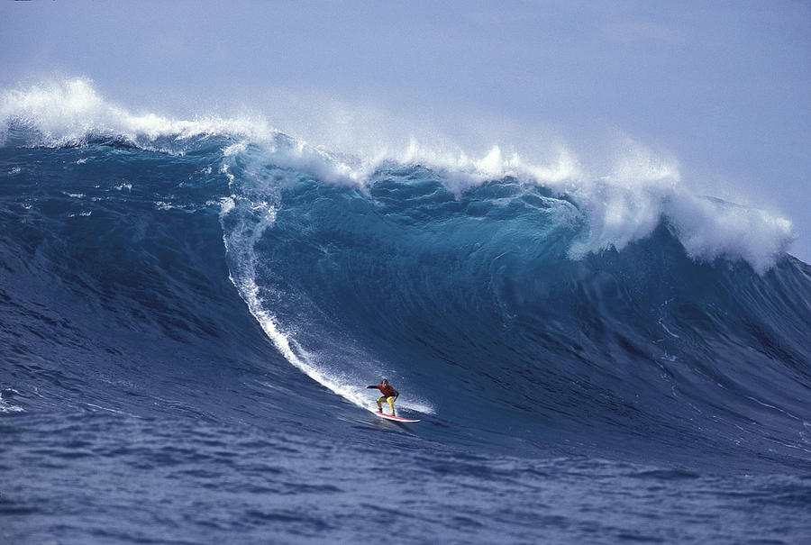 Biggest Waves Photograph - Man Vs Mountain by Sean Davey