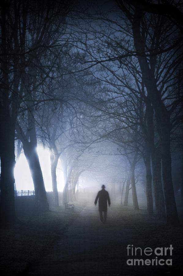 Man Walking In Fog At Night Photograph By Lee Avison